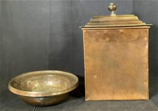 Lot 2 vintage Copper Canister and Bowl, France
