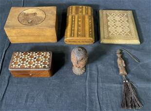 Group Lot 6 Wood Desk Accessories & Collectibles
