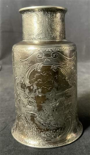 Vintage HS CO Silver Plated Tea Caddy