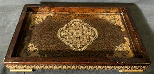 Chinese Hand Carved & Lacquered Wooden Tray