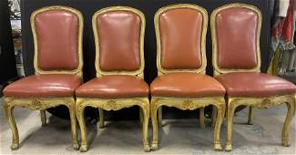 Set 4 Vintage Highback Leather Side Chairs