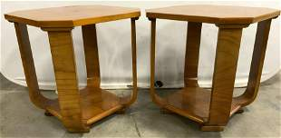 Pair Mid Century Modern Cherry Side Tables
