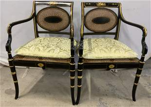 Pair Vintage Caned Regency Style Armchairs
