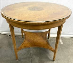 Vintage Round Side Table, Filigree Center Inlay