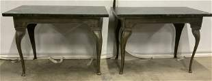 Pair Vintage Steel Console Tables w Wood Tops