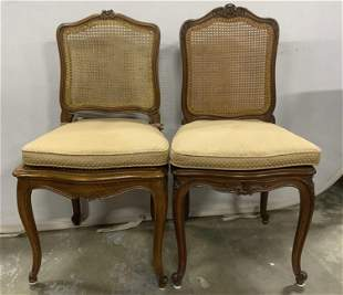 Pair Vintage Carved Wood Caned Side Chairs