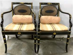 Pair Caned Regency Style Armchairs
