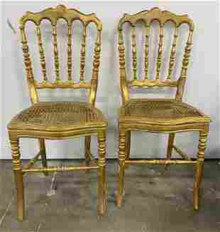 Pair Antique Gilt Wood Side Chairs