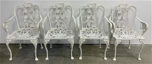Set 4 Vintage Outdoor White Iron Patio Chairs