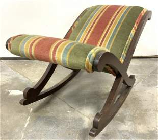Antique Upholstered Children's Rocking Chair