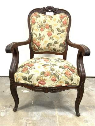 Antique Upholstered Carved Wooden Bergere Chair