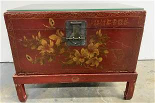 Antique Asian Trunk Side Table