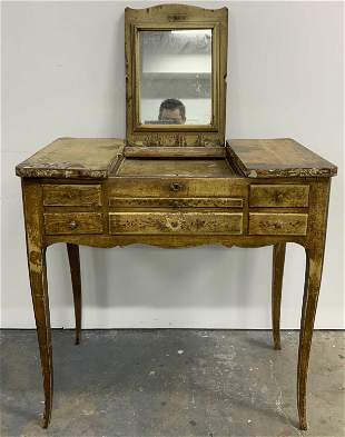 Antique Hand Painted Wooden Vanity