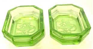 Pair Green Art Glass Salt Cellars