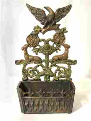 Antique Cast Iron Match Holder
