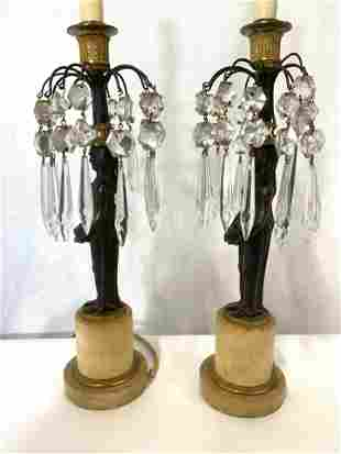 Pair Antique Bronze & Crystal Prism Tabletop Lamps