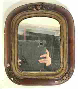 Antique Wood Frame Wall Mirror