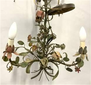 Vintage Hand Painted Floral Metal Chandelier