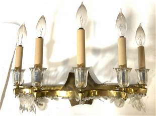 Antique Candlestick Style Brass Wall Sconce