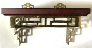 Wooden Wall Shelf W Brass Supports
