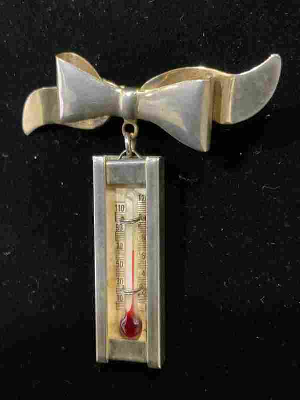 Vintage Articulated RIBBON & THERMOMETER Pin
