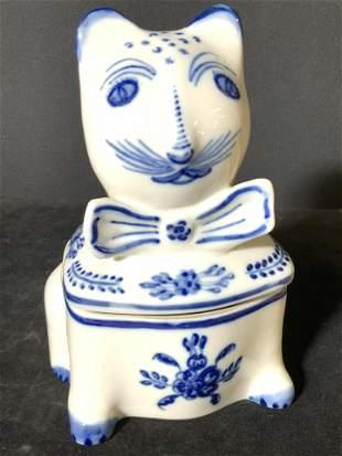 VIANADOCASTELO Signed Porcelain Cat Lidded Vessel