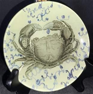 JOHN DERIAN Signed Crab Motif Decoupage Plate