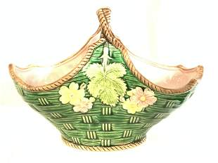 Hallmarked Majolica Style Ceramic Basket Dish