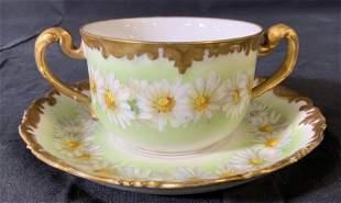 T & V LIMOGES France Porcelain Teacup & Saucer
