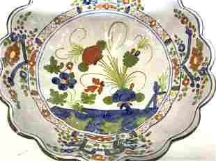 DERUTA Scalloped Ceramic Centerpiece Bowl, Italy
