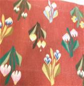 Vintage Iris & Tulip woven Wool Rug/ Tapestry