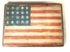 Signed American Flag Wood Wall Decor, Folk Art