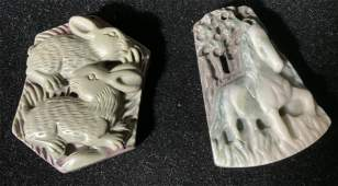 Lot 2 Chinese Zodiac Stone Pendants