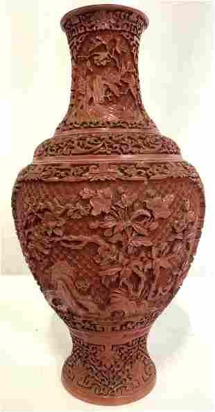 Vintage Asian Cinnabar Vase Vessel Centerpiece