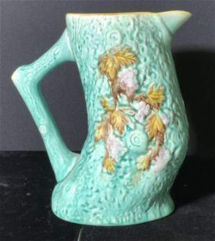 ANTIQUE VICTORIAN Aqua Oak Tree Majolica Jug