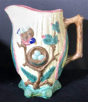 ANTIQUE MAJOLICA JUG, Bird w/ Eggs, 19thC Signed