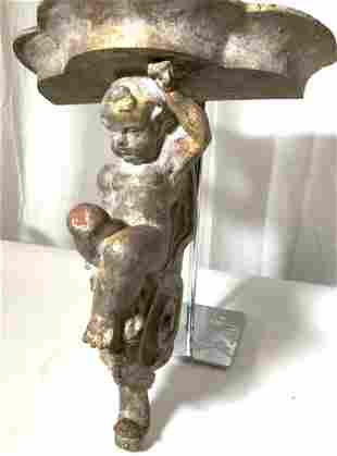 ANTIQUE Hand Carved Angel Putti Wall Shell