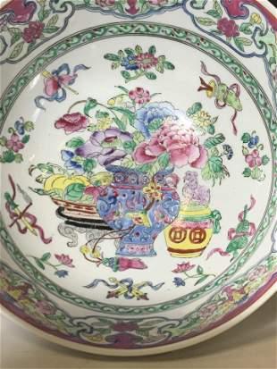 Hallmarked Chinese Cartouche Stoneware Bowl