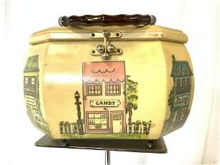 Vintage Wooden Decoupage Purse 'Store' Box, 1940s