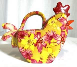 Vintage Floral Detailed Porcelain Chicken Pitcher