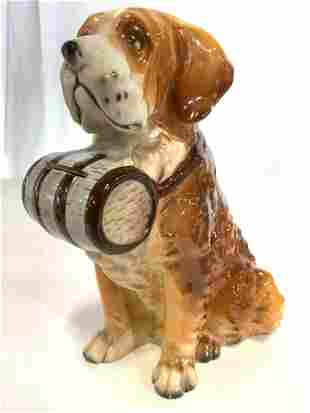 Vintage Porcelain St Bernard W Barrel Piggybank