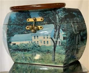 Vintage Decoupage Wood Box Bakelite Handle