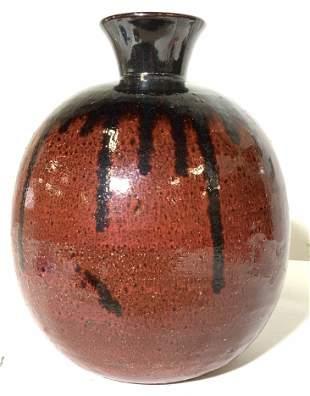 Mid Century Glazed Terra Cotta Vase