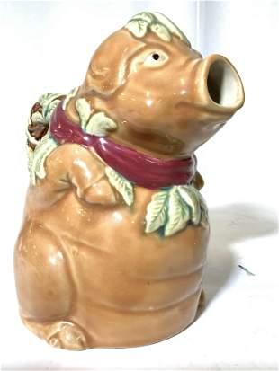 Majolica Pig Figural Pitcher- Jug