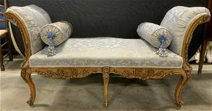 Antique French Carved Wood Chaise Lounge Bench