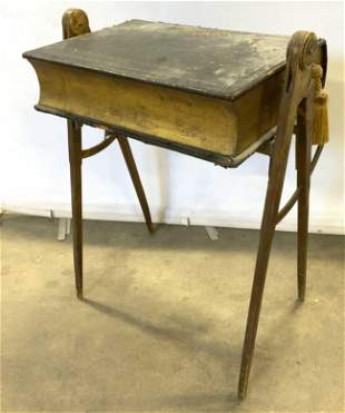 Antique Wood & Leather Side Table