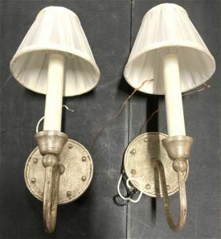 Pair Vintage Nickel Wall Sconces W Beaded Detail