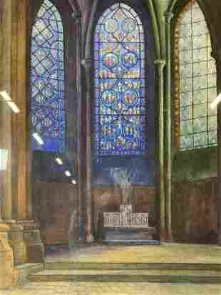 REGIS L DREVET Signed Watercolor Painting Artwork