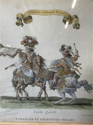 Antique 18th C Hand Colored French Engraving Art