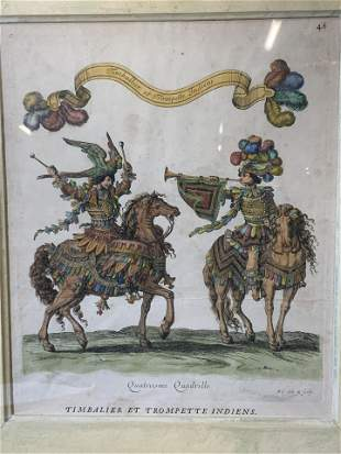 Antique 18th. C Hand Colored French Engraving Art